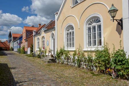 Ebeltoft, Denmark - 22 June 2019: the traditional historic village of Ebeltoft on Jutland in Denmark