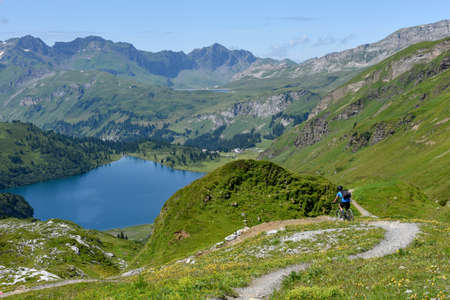 Lake Engstlensee over Engelberg on the Swiss alps