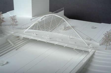 Geneva, Switzerland - 29 October 2013: Site surrounding model for architectural presentation of a bridge at Geneva on Switzerland