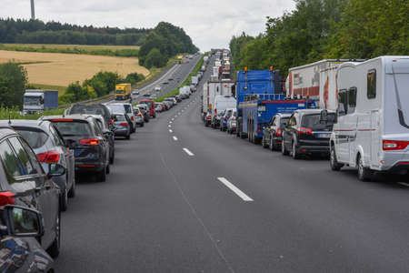 Kassel, Germany - 2 July 2019: car queue for accident on the highway at Kassel on Germany