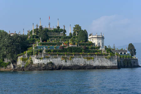 View at the garden of Bella island on lake Maggiore in Italy
