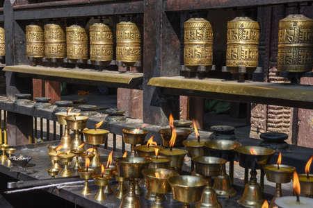 Closed up the prayer wheel at temple at Patan near Kathmandu in Nepal