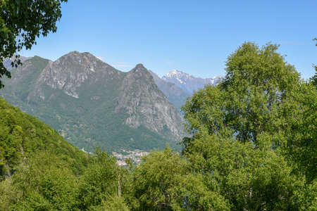 Mountain landscape over Lugano on the Swiss alps Standard-Bild