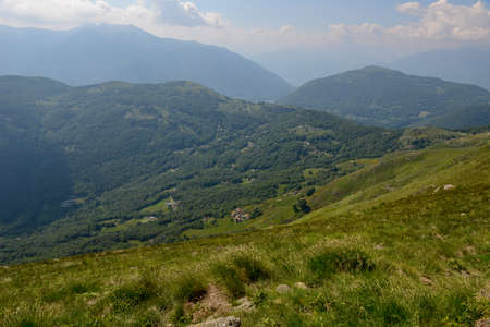 View at Gola di Lango on Capriasca valley in the Swiss alps Standard-Bild