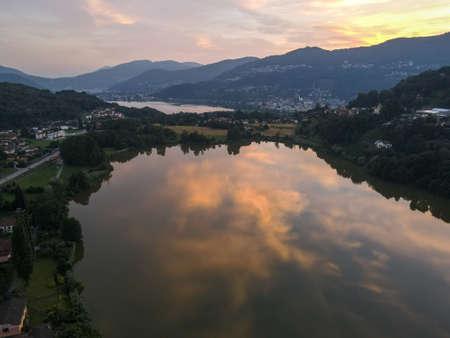 Areal sunset over lake Muzzano near Lugano on the italian part of Switzerland