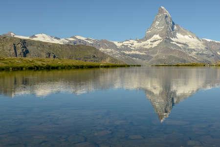 Lake Stellisee and mount Matterhorn at Zermatt in the Swiss Alps