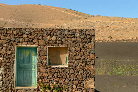 Agricultural cultivation on volcanic soil at Lanzarote in the canary islands, Spain
