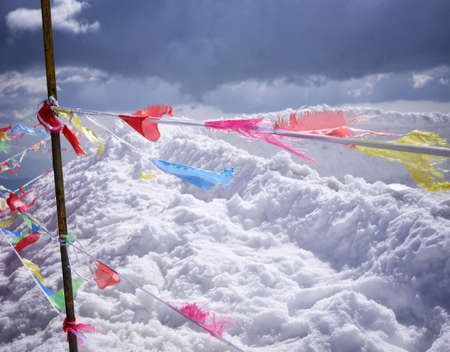 color: Color flags on white snow.