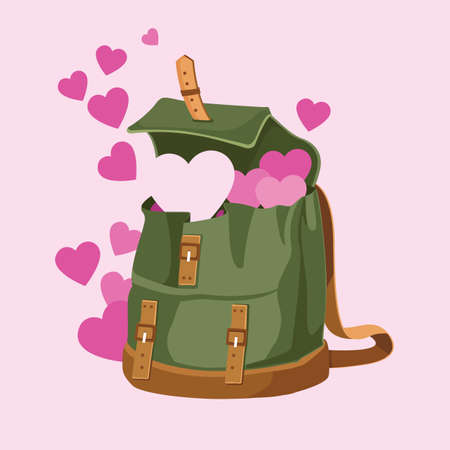 love and hearts is in the backpack vector