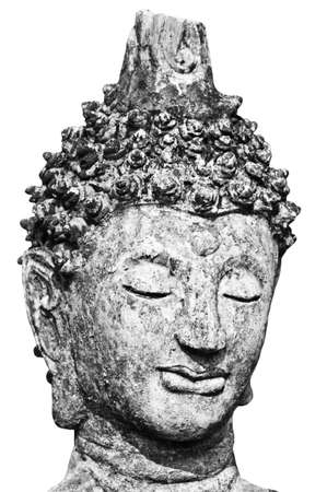 Black and White Buddha head statue isolated photo