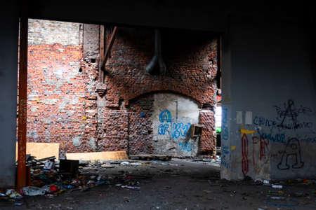 Interiors of abandoned industrial halls in Żyrardów.