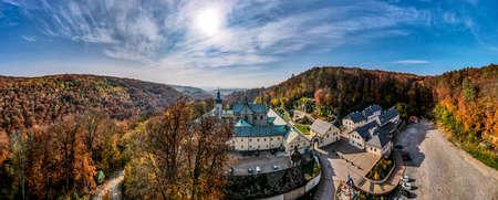 The Discalced Carmelite Monastery in Czerna - a male monastery in the village of Czerna in the Lesser Poland Voivodeship; double sanctuary: Our Lady of the Scapular and St. Rafał Kalinowski. Bird's eye view
