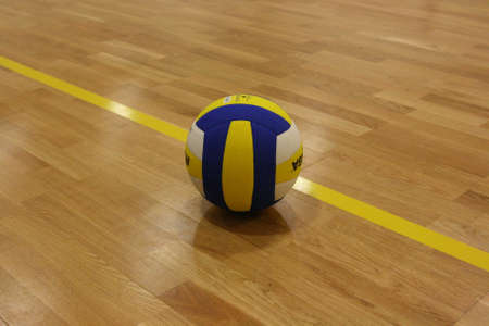 volleyball team: ball out, match point Stock Photo