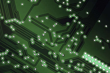 Printed circuit board, pcb, close up in the top view photo