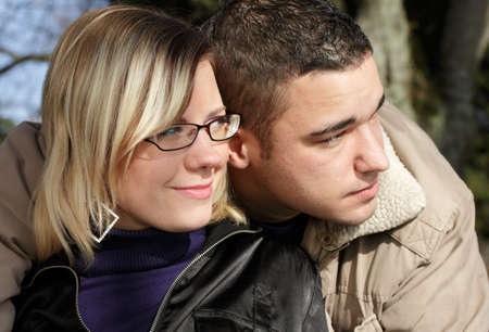 autumn - couple looking together afar Stock Photo - 8527847