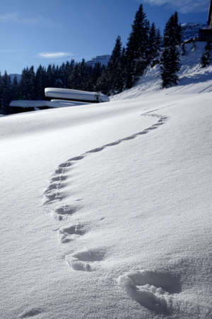 footprints in the snow to the mountain hut