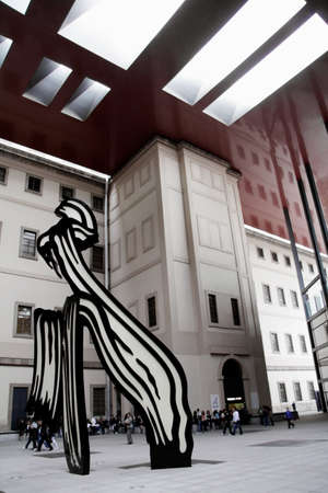 Spain, Madrid - May 12, 2010: Spanish National Museum of Art, Reina Sofia, sculpture by Roy Lichtenstein Editorial