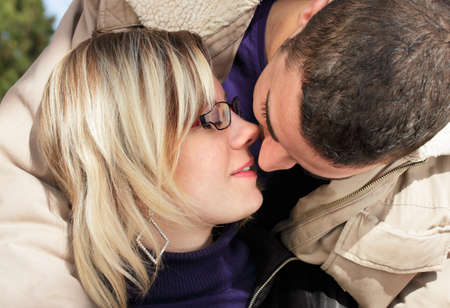 kissing mouth: Just a kiss - couple in love