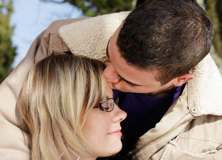 Couple in love - kiss on brow Stock Photo - 8554052