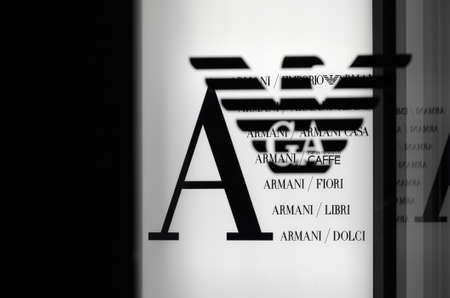 giorgio: Germany, Munich - January 15, 2011: Armani Fashion trademark at the entrance to the boutique Editorial