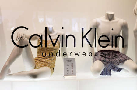 Germany, Munich - January 15, 2011: Calvin Klein Underwear trademark and display dummies
