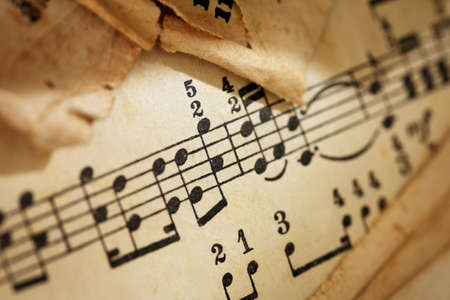 classical music: Yellowed sheet of music, diagonal image formation