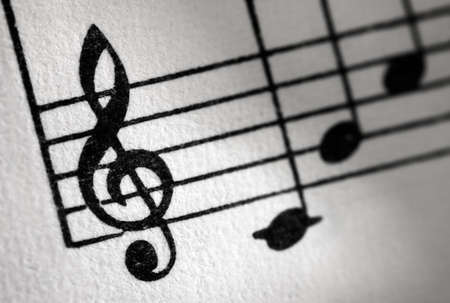 Treble clef and music sheet, diagonal image formation