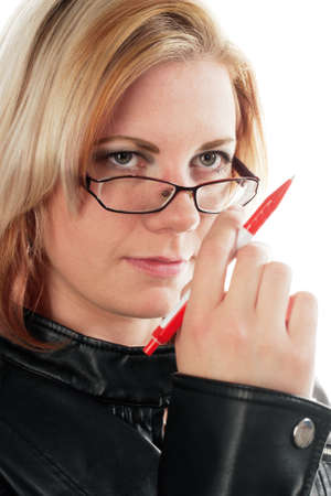 Female student with pen. Close-up against a white background. photo