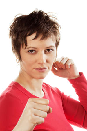 defense: Fighting woman. Stock Photo