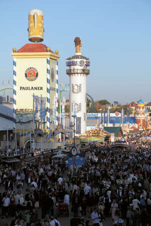 Munich, Germany - October 03, 2010: View over the Oktoberfest with crowds of visitors.