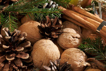 Christmas still life with branches, nuts, cinnamon sticks and pine cones as close-up.