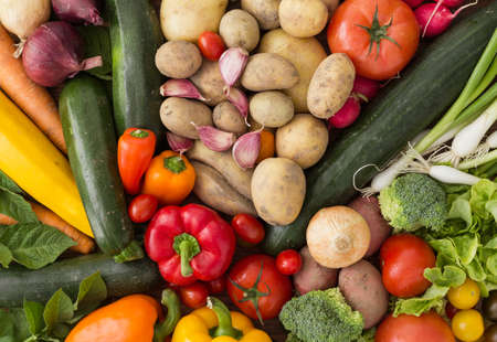 Various fresh vegetables arranged in a colorful group as a natural still life for organic healthy and vegetarian food
