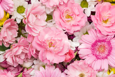 Roses, gerbera and chrysanthemum - colorful flowers as a natural background