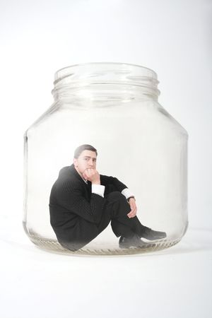 businessman in the jar photo