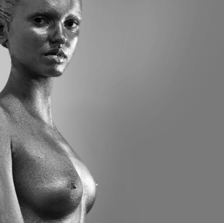 body paint sexy: silver girl