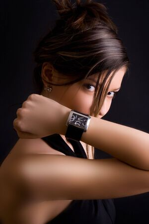 girl with a wristwatch: glamorous girl