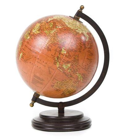 stylish vintage globe over white background    photo