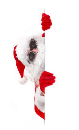 shades: santa claus in shades holding an advertising sign
