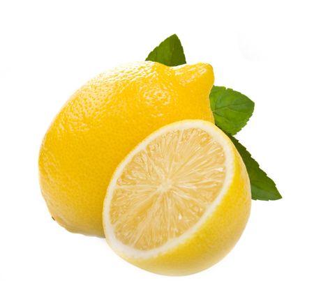 slices of lemon: lemons isolated over white background Stock Photo