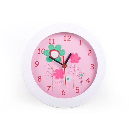 glamourous pink clock over white background, photo