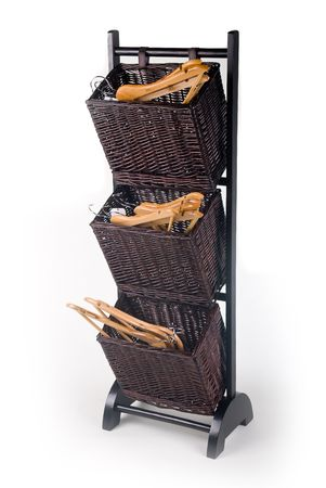 fancy wooden laundry baskets with pegs in them     photo