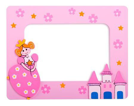 castillos de princesas: glamour marco de fotos de color rosa con castillo y una princesa en �l