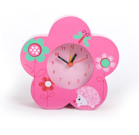 glamourous pink clock over white background photo