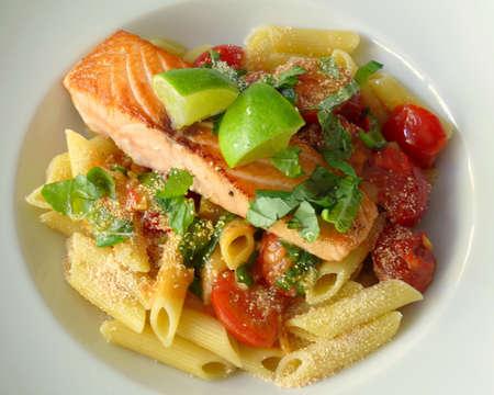 sea-salmon filet and Noodles photo