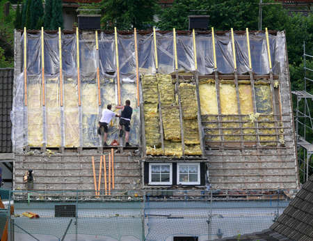 strongly: roof renovation  Stock Photo