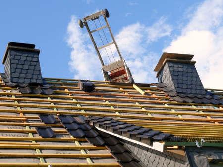 insulating: roof renovation  Stock Photo