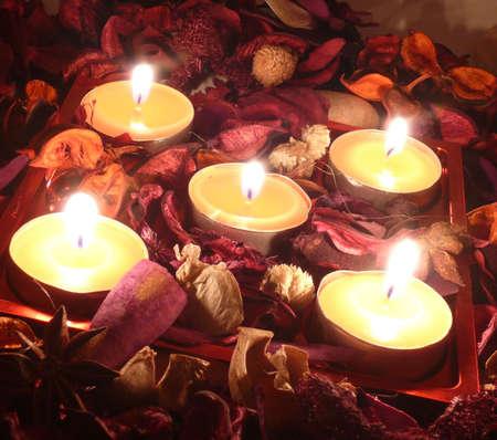 tea candles: Mood Stock Photo
