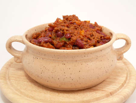 free plates: spicy Chilibeans- chili con carne Stock Photo