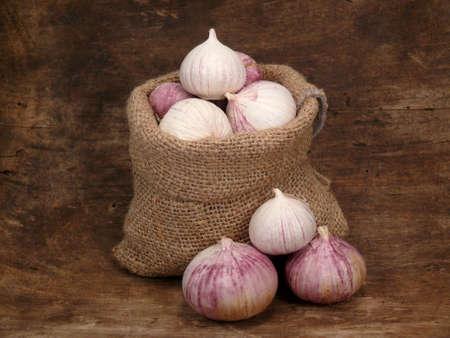 alliaceae: garlic in the bag Stock Photo