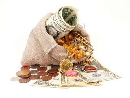 kleine rijkdom in de zak Stockfoto